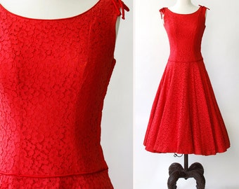 vintage 1950s dress <> 1950s red dress <> 50s red lace dress