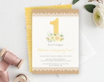 1st Birthday Invitation, First Birthday Invitation, Yellow Birthday, Printable Invitation, 1st Birthday Invite, Girl 1st Birthday, Birthday