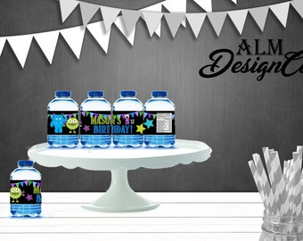 Little Monster Water Bottle labels - Little Monster Birthday Water Bottle Labels - Little Monster Birthday Party Decorations