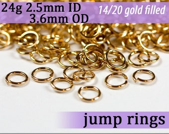 24g 2.5mm ID 3.6mm OD gold filled jump rings 24g2.50 goldfill jumprings 14k goldfilled