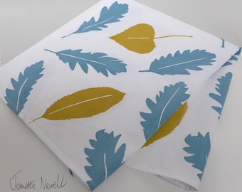 Tea Towel | Screenprinted |Leaf Pattern Design | Cotton Kitchen Towel | Blue |Teal | Ochre| Mustard