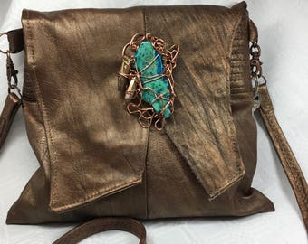 Bronze Metallic Leather Handbag