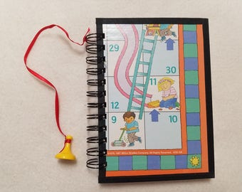 Recycled Chutes & Ladders Board Spiral Bound Journal Upcycled Tablet Notebook