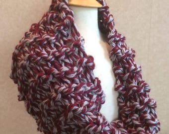 Grey and red cowl