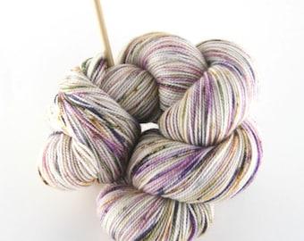 "Hand dyed yarn,  80 / 10 / 10%  Super wash Merino / Cashmere / Nylon, sock yarn, 400 yards, ""Botanica (b)"""