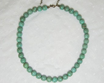 """Turquoise Beaded Necklace Large Round 10mm Beads and 3"""" Extender Chain"""