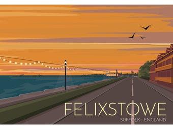 Felixstowe, Suffolk, England, UK - signed travel poster print