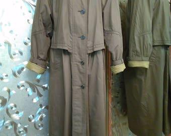Olive coat L-XL size Spring coat Raincoat warmed Vintage 80-90 Raincoat Green coat Long jacket Women's coat Autumn coat Outerwear Warmed