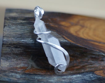 Elestial/ Skeletal Quartz Cold Forged Sterling Silver Pendant