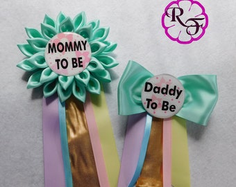 Baby Shower Corsage, Mommy to Be Corsage, pastel colors , unicorn baby shower corsage , daddy to be pin , gold , mint , girl baby shower