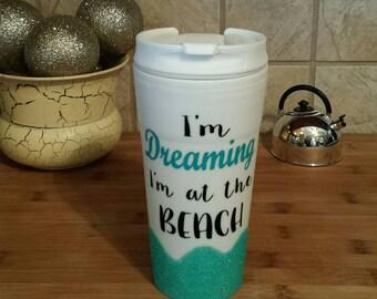 Beach Dreams Glitter Travel Mug, Glitter Mug, Beach, Travel Mugs, Glitter Travel Mugs, Aqua Blue