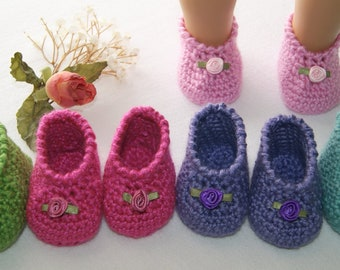 Booties for 18 inch American Girl type Doll - Hand Crochet Slippers for Girl's Doll - Gift for Girl - Slip On Shoes for AG Doll - Doll Shoes