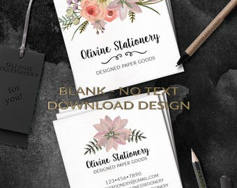 INSTANT Download Template Business Cards, DIY Square Business Card Template, 2 sided, Photoshop, Custom Card, MOO Printing, Wild Flowers