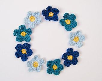 Appliqué Crochet Flowers - 9 Teal Blue Mix