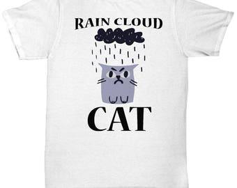 Rain Cloud Cat Tee Shirt- Cool Tee Shirt Graphic Design