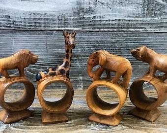 4 Vintage African Safari Carved Wood  Napkin Rings Tribal Figural Elephant Lion Giraffe Water Buffalo