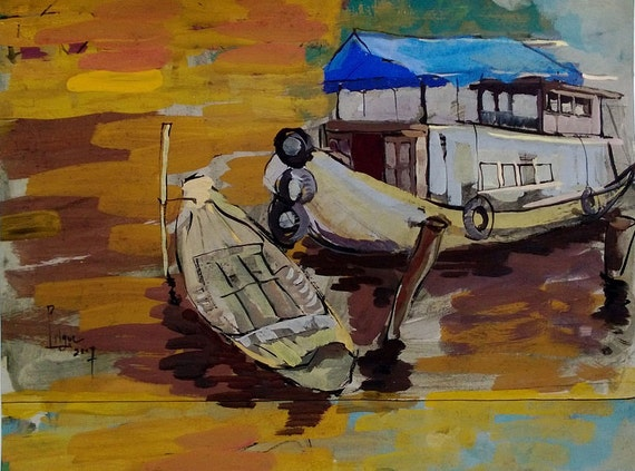 """WOODEN BOATS 16X20"""" gouache on paper, live painting, Mekong Delta (Cần Thơ Province), original by Nguyen Ly Phuong Ngoc"""