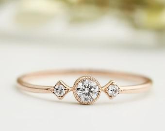 Rose gold engagementring, Unique engagement ring, 3mm white diamond, conflict free, three diamond ring, 14k gold, platinum