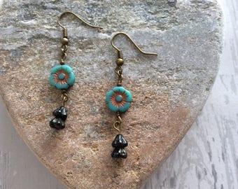 Handmade Turquoise and Gold Czech Glass Bead Flower Earrings