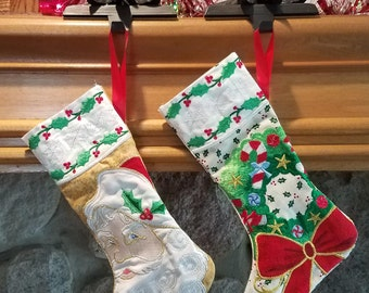 Wreath Embroidered Stocking