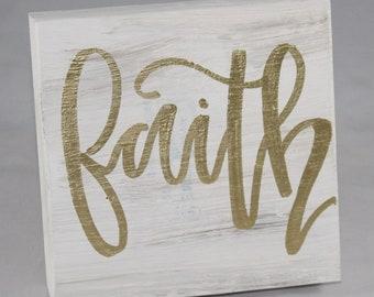 "Handpainted and Handwritten Wooden Blocks - ""Faith"""