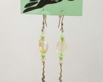 Citrine and stabilized olive turquoise dangle earrings