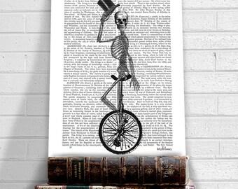 Skeleton on unicycle - funny skeleton print cool art print skeleton decor gothic decor gothic art print geekery art geek gift gifts for men