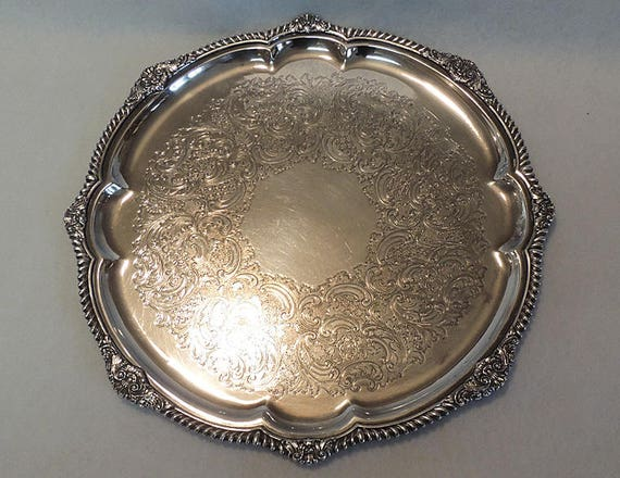 "Vintage Gorham EPNS Silverplate 14 1/4"" Tray Y 1133.. Round With Scalloped Edge"