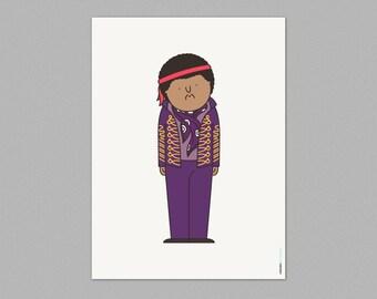 Illustration, Print, Jimi hendrix, Cartoon characters, Wall art, Art decor, Hanging wall, Printed art, Decor home, Gift idea, Sweet home.