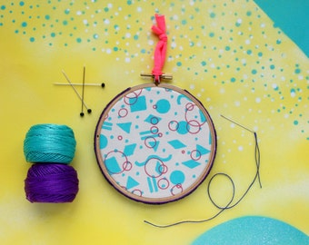 80s pattern hoop art in turquoise and pink - retro style hand printed fabric