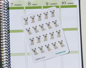 Siamese Kitten Stickers (Set of 20 Stickers)