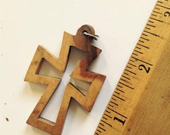 Vintage Wooden Olive Tree Cross Key Chain from Jerusalem
