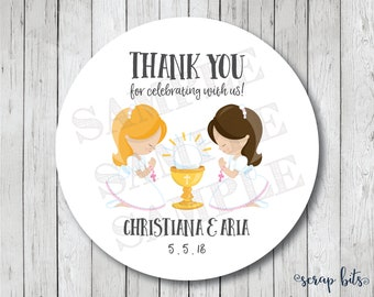 Twin Girl First Communion Stickers, Personalized First Holy Communion Tags, Communion Favor Tags or Labels, Communion Thank You Stickers