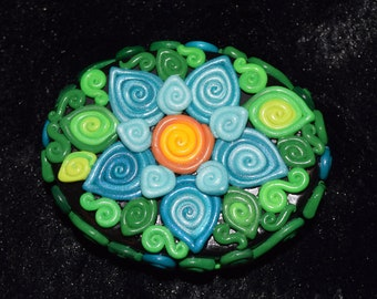 Blue Double Flower Polymer Clay Decorated Box