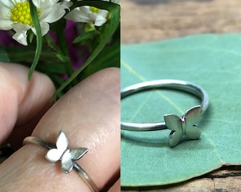 Little Butterfly  Stacking Ring - Made To Order In Your Size