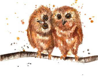 Baby Owls Watercolor Print on Watercolor Paper or Canvas