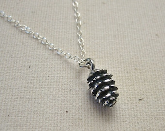 Sterling Silver Pinecone Necklace - Nature Jewelry, Woodland Necklace, Boho Jewelry