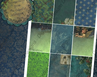 Instant Download Digital Collage Sheet - ATC ACEO 2.5 x 3.5 size - Christmas - Colors of Christmas, Blues Backgrounds