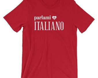 Talk To Me In Italian Unisex Tshirt, Parlami in italiano T-Shirt, Italian Student Teacher Gift, Italy Travel Gift, Italian Language Lover