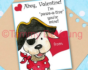 Valentine Card for kids* Pirate Valentines Day* DIY Printable greeting card for boys, girls, classmates, personalization extra