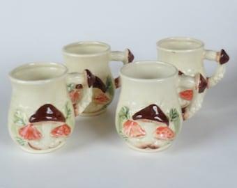 1 Set of 4 Vintage MUSHROOM Mugs - 4 pc Mug Set - Woodland Forest Shroom Toadstool Mugs. Hippie GIFT. 70s JAPAN Mugs