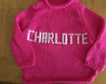 Toddler Girl  2T, 3T Embroidered Name - Handknit Cotton Sweaters