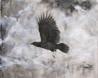 Through Stormy Skies - original drawing mixed media