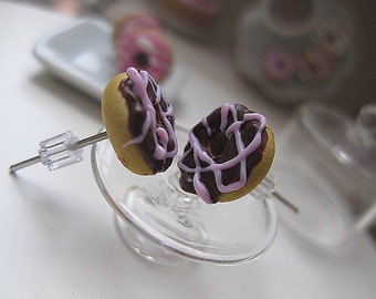 Mini Chocolate Donuts withs strawberry icing Stud Earrings _ 1/12 Dollhouse Scale Miniature Food _ Polymer Clay