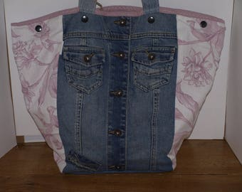large trapezoidal recycled denim pink white floral canvas tote bag