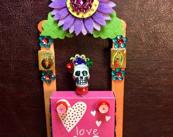 Day-of-the-Dead Valentine Booth Nicho / Dia de los Muertos Miniature Shrine / All Souls Day Altar Decor