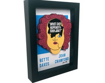 What Ever Happened to Baby Jane Movie Poster 3D Art Print Horror Print Horror Movie Poster Bette Davis Poster Joan Crawford Movie Poster