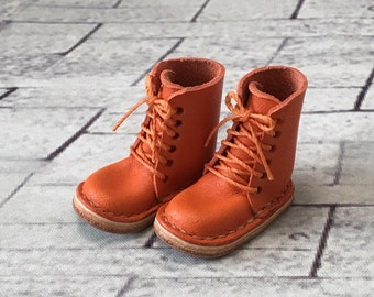 Real leather: miniature lace-up boots [Orange] (for blythe)