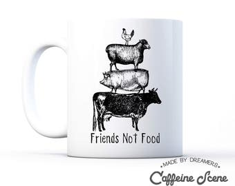 Vegan Mug Gift Idea Friends Not Food Vegetarian Herbivore Save Animal Rescue Right Equality AnimalLovers mug Mother's Day