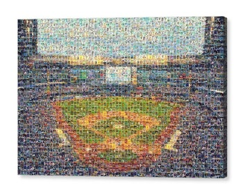 Unique Milwaukee Brewers Mosaic Art UV Color Print of Miller Park from 300+ Brewer Player Cards.  All the Greats Included.